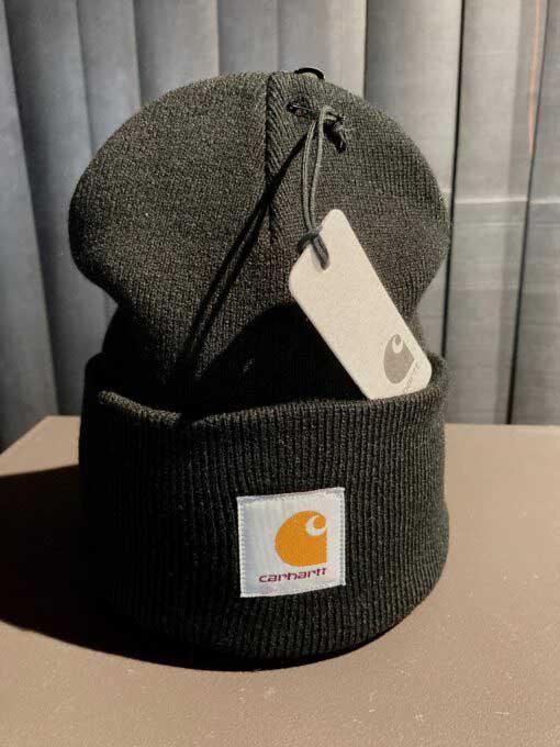 Acrylic Watch Hat, Carhartt, Beanie, Strickmütze, Gross real wear, Schwarz, Black