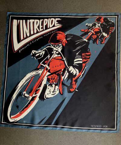 A Piece of Chic, L'Interapide, Seide, Tuch, Silk, Seidenschal, Fahrrad, Rennen, Blau, Black