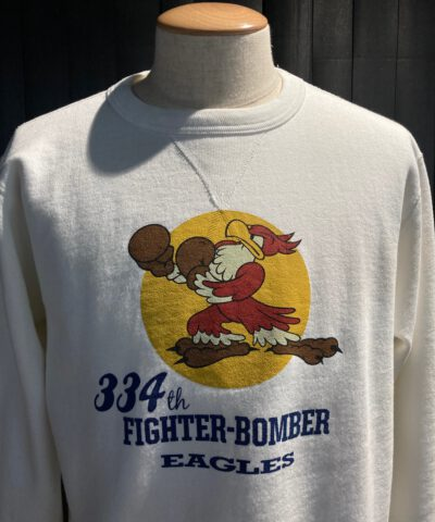 Buzz Rickson's 334Th Fighter Bomber Sweatshirt, Crewneck, Gross real wear München, Weiß