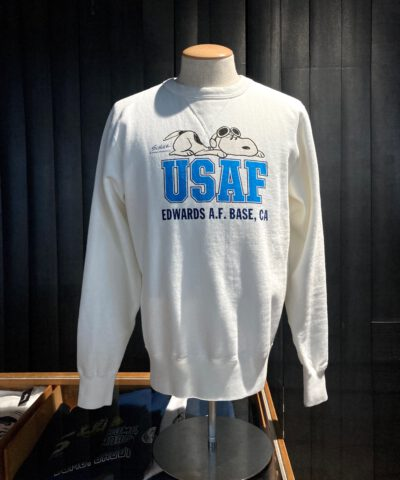 Buzz Rickson's Air Force Academy Sweatshirt, gross real wear Muenchen, Peanuts Snoopy, Weiß
