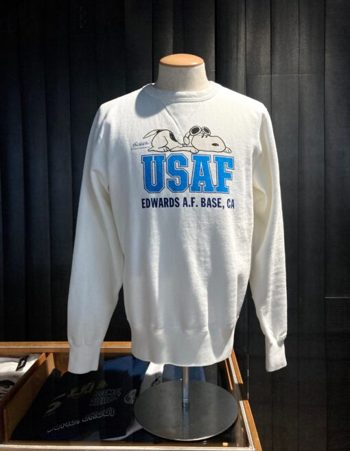 Buzz Rickson's Air Force Academy Sweatshirt, gross real wear Muenchen, Peanuts Snoopy, Weiß