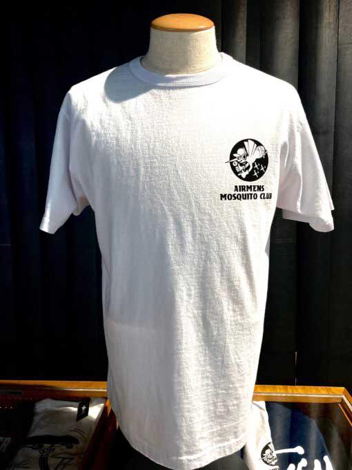 Buzz Rickson's, Airmens Mosqito Club, T-Shirt, Gross real wear, White, BR78517