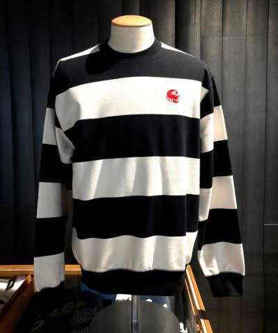 Carhartt Alvin Stripe Sweatshirt, Black, White, Gross real wear, I028348.wrw.90.03-01