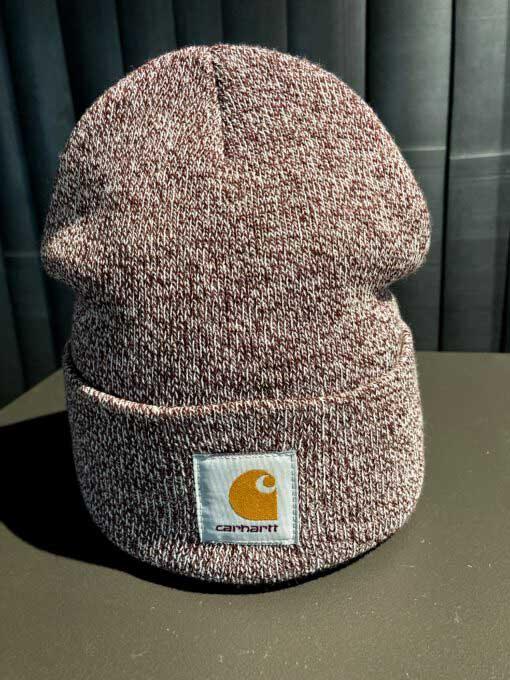 Carhartt WIP Acrylic Watch Hat, Melange Strickmütze Bordo, Gross real wear München