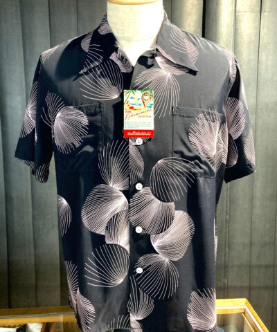 Duke, Kahanamoku, Palm, Tree, Hawaiian, Shirt, Rayon, Viscose, Loopcollar, Reversekragen, Black, Gross real wear