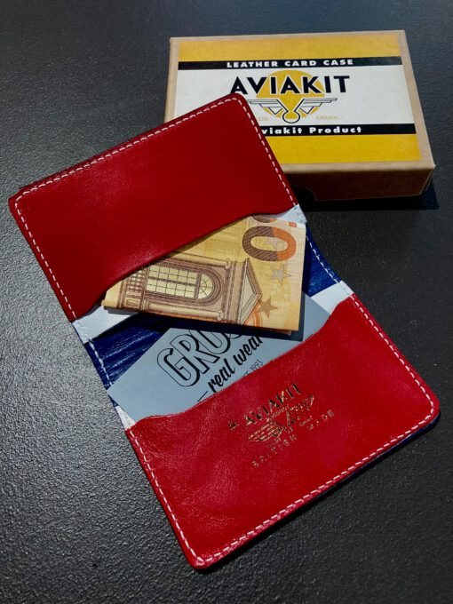Lewis Leathers, Cardholder, Kartenetui, Blau, Blue, Weiß, White, Red, Rot Leder, Leather, Gross real wear