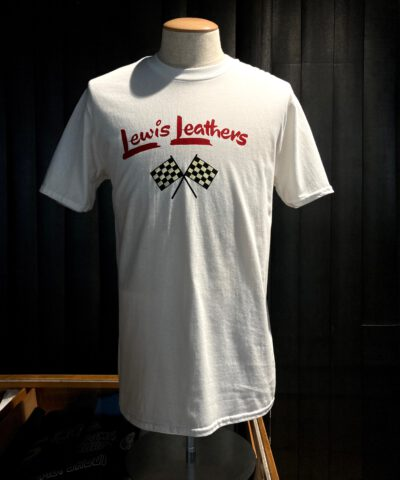 Lewis Leathers, Racing Flags, T-Shirt, Cotton, Weiss, White, Gross real wear, London