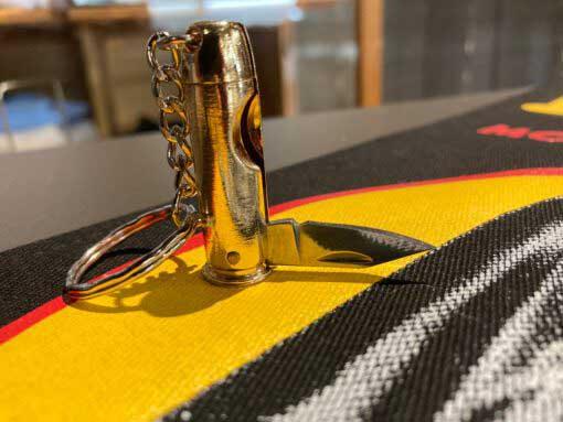 Lewis Leathers, Schlüsselanhänger, Keyring, Bullit, Miniknife, Messing, Brass, Gross real wear München