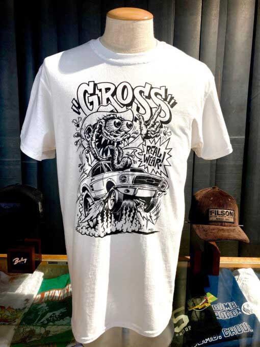 Lowbrow Weirdo T-Shirt, Ford Mustang, Gross Real Wear, Design von Mihael Kovacec, Farbe weiß