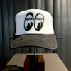 Moon Eyes, Equipped, Trucker Cap, Hat, Gross real wear, Black-MQ002BK