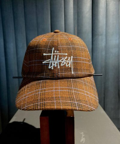 Stüssy, Big Logo Plaid Low Pro, Baseball Cap, kariert, Checked, Gross real wear, Braun, Brown