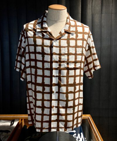 Stüssy Hand Drawn Grid Shirt, Design by Noma, Gross real wear, Hemd, Weiß, White, 110132