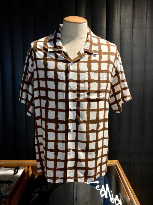 Stüssy Hand Drawn Grid Shirt, Design by Noma, Gross real wear, Hemd, Weiß, White, 110132