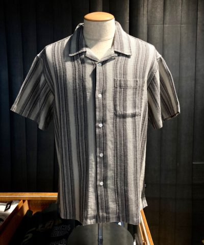 Stüssy Waffle Stripe Shirt, Hemd, Gross real wear, Grau, Gray, 1110130