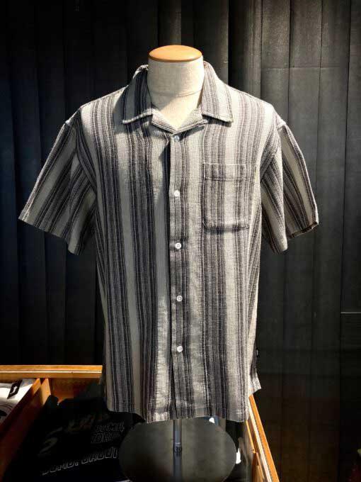 Stüssy Waffle Stripe Shirt, Hemd, Gross real wear, Grau, Gray, 1110130