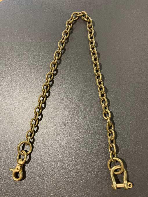 Walletchain, Keychain, Geldbörsenkette, Schlüsselkette von Smoky Summi, oval, 45cm, Messing, Gross real wear München