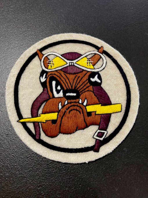 61st FTR USAAF Squadron Patch, Aufnäher Beige, Bulldog, Gross real wear München, Eastman Leather England