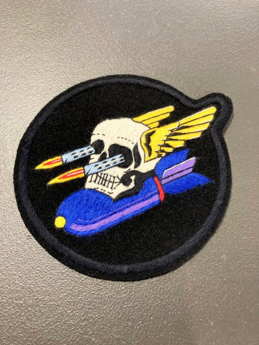 640th Bomb Sqadron USAAF Patch, Aufnäher, Gross real wear München, Totenkopf mit Flügeln und Bombe, Eastman Leather