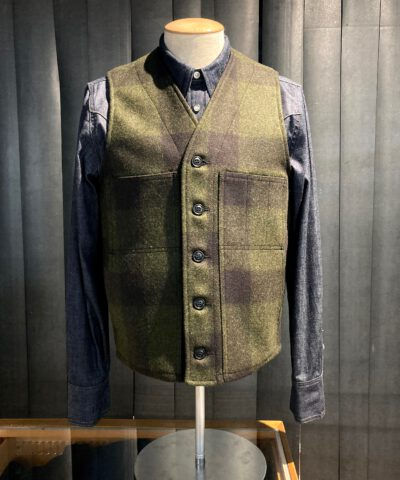Filson Mackinaw Woll Vest Forestgreen Brown kariert, Gross real wear München, Wollweste
