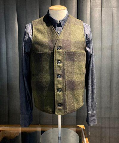 Filson Mackinaw Woll Vest Forestgreen Brown kariert, Gross real wear München, Wollweste