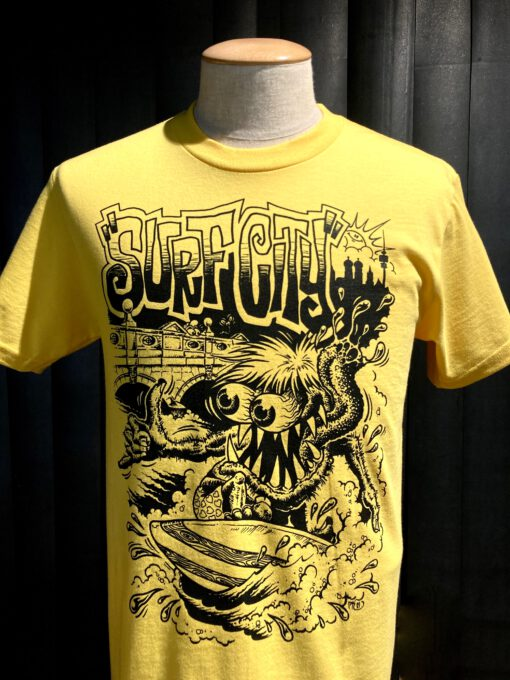Gross real wear München Weirdo #4 Surfcity T-Shirt, Lowbrow, Gelb, Cotton