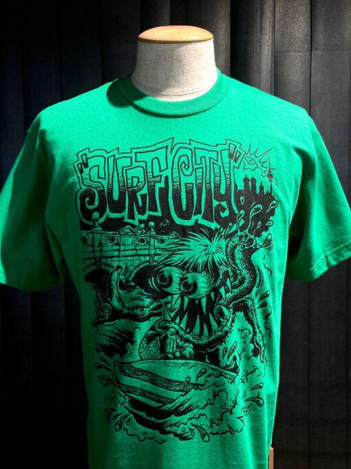 Gross real wear München Weirdo #4 Surfcity T-Shirt, Lowbrow, Grün, Cotton