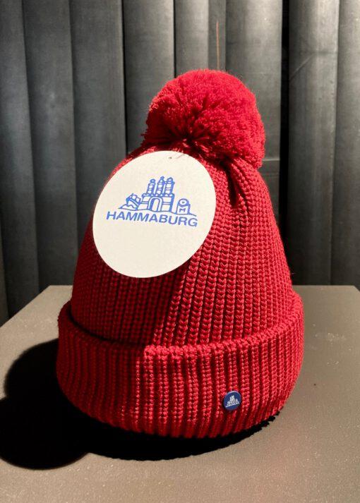 Hammaburg Strickmütze, Pom Pom, Pudelmütze, Gross real wear München, Rot