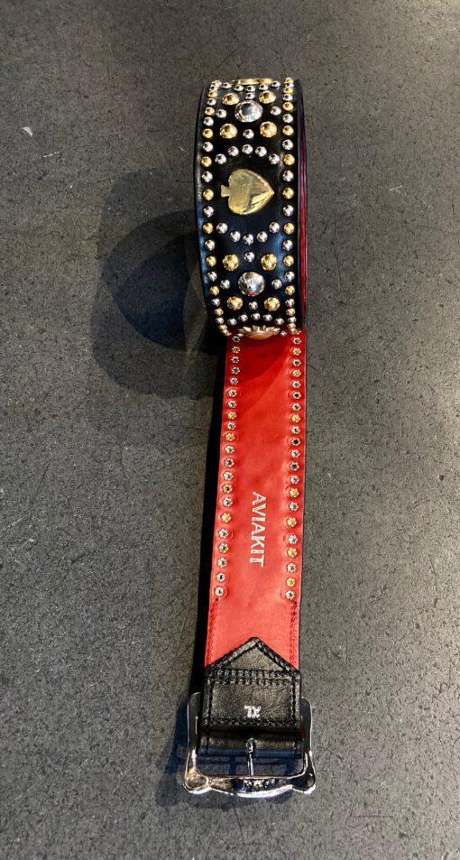 Lewis Leathers Club & Spade Studded Belt, Ledergürtel genietet Schwarz, Gross real wear München