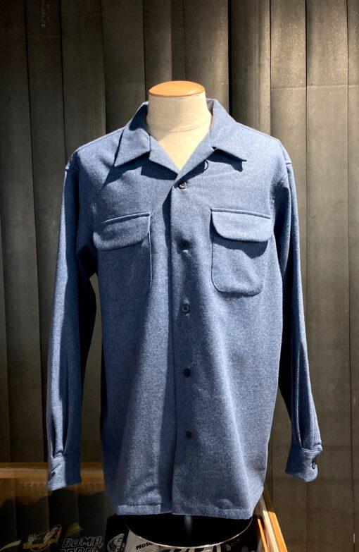 Pendleton original Board Shirt Wolle, Gross real wear München, Brusttaschen mit Patte, Loopcollar, Umlegekragen, langarm Hemd, Blau
