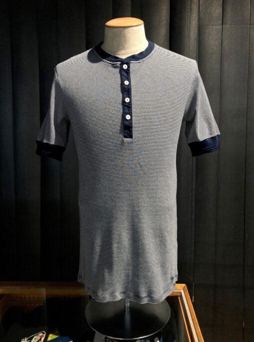 Schiesser Revival Karl-Heinz Henley gestreift Navy, Knopfleisten Shirt kurzarm, Gross real wear München