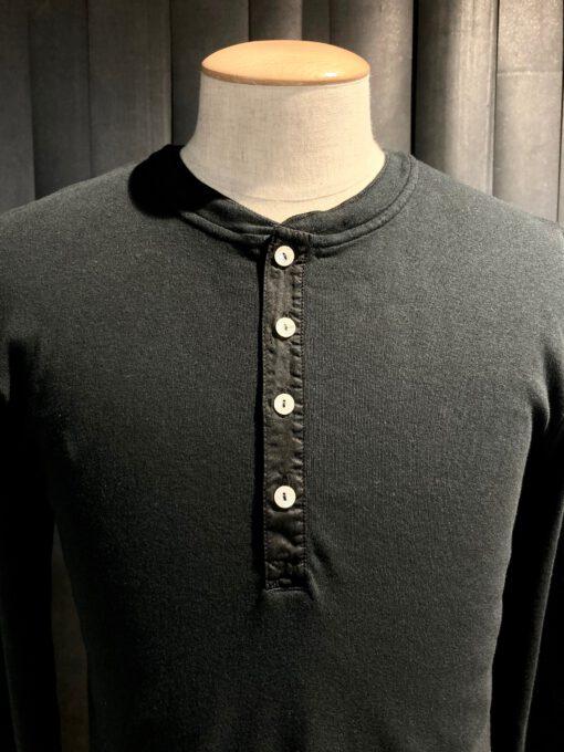 Schiesser Revival Karl-Heinz Henley Langarm Shirt Schwarz, Knopfleisten Shirt, Gross real wear München