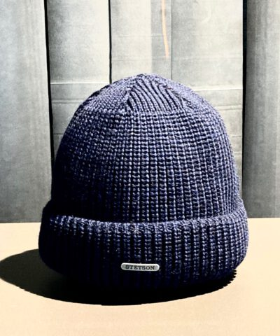 Stetson Merino Woll Beanie, Fisherman Strickmütze Navy, Gross real wear München