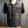 Stüssy Floral Pattern Lace Shirt, Black, Gross real waer München, kurzarm Hemd, Loopcollar, Reverskragen