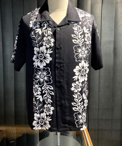 Stüssy Hawaiian Pattern Shirt, kurzarm Hawaii Hemd Rayon, Black, Gross real wear München