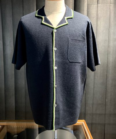 Stüssy Stripe Edge Knit Shirt, kurzarm Strickpolo durchgeknöpft, Navy, Gross real wear München