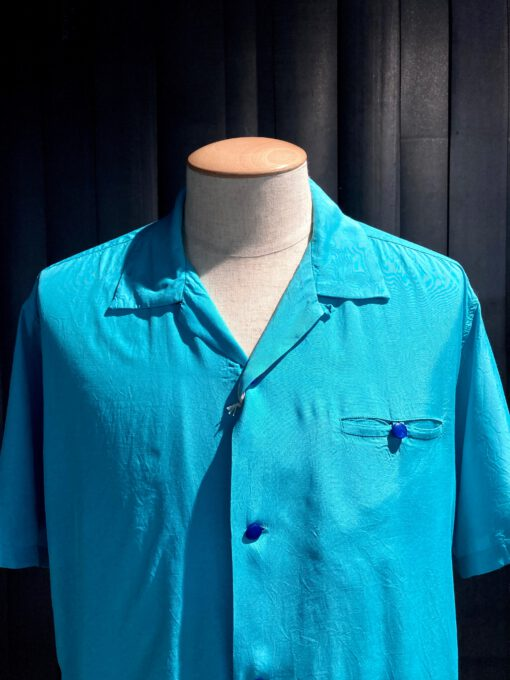 Style Eyes Plain Bowling Shirt, kurzarm Hemd Rayon, Gross real wear München, Hellblau