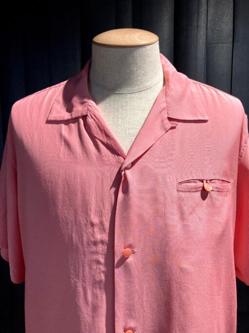 Style Eyes Plain Bowling Shirt, kurzarm Hemd Rayon, Gross real wear München, Pink
