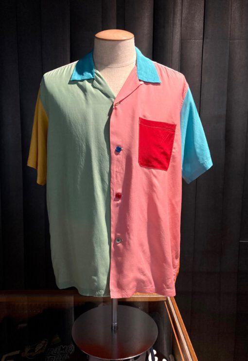 Style Eyes Crazy Pattern Bowling Shirt, Gross real wear München, Rayon kurzarm Hemd, Multicolor