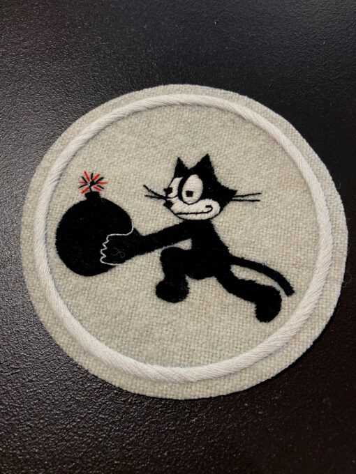 VF3 USAAF Squadron Patch, Felix the Cat Aufnäher, Gross real wear München, Bombe, Beige, Eastman Leather England