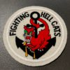 VF5 Fighting Hell Cats USAAF Patch, Aufnäher Katze mit Anker, Gross real wear München, Eastman Leather England