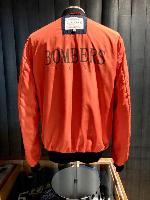 Bombers Original Bomber Jacke, Navy, Nylon, Taschen, Brustlogo bestickt, Gross real wear München, Tasche am linken Arm, Innentaschen, Strickbünde, Reißverschluß