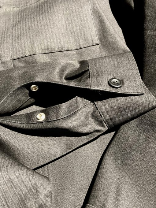 Dickies Funkley Shirt, langarm, Herringbone, Gross real wear München, Baumwolle, Brusttasche, aufgesetzte Taschen, Druckknopf Manschette, Black