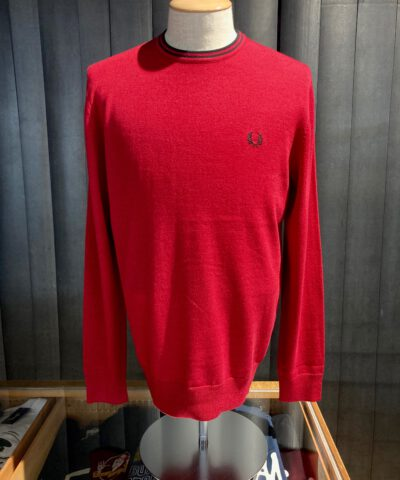 Fred Perry Classic Crew Neck Jumper, Strickpullover, Red, Gross real wear München, Lorbeer Kranz, Baumwolle, Wolle, langarm