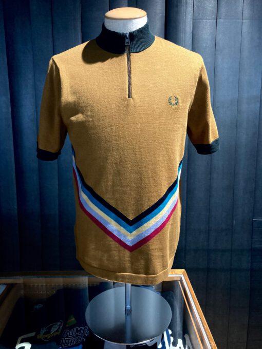 Fred Perry Funnel Neck Knitted Shirt, Gross real wear München, kurzarm Strickhemd, Stehkragen, Reißverschluss, bunter Strickeinsatz, Braun