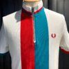 Fred Perry Stripe Funnel Zip Polo, kurzarm, Piquet, gestreift, Stehkragen, Reißverschluss, Gross real wear München, Weiß, Rot, Turquoise