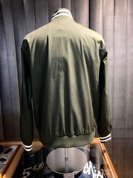 Fred Perry Tennis Bomber Jacket, Reißverschluss, gestreifte Bünde, Green, Gross real wear München, Lorbeer Kranz, Taschen, Innentasche