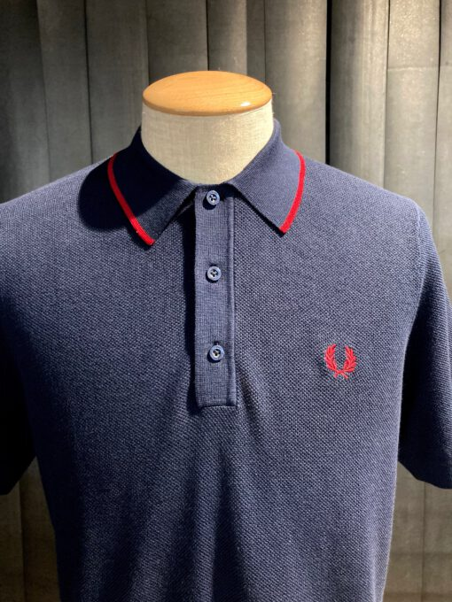 Fred Perry Tipped Knitted Polo, kurzarm Strickpolo, Navy, Knopfleiste, Gross real wear München