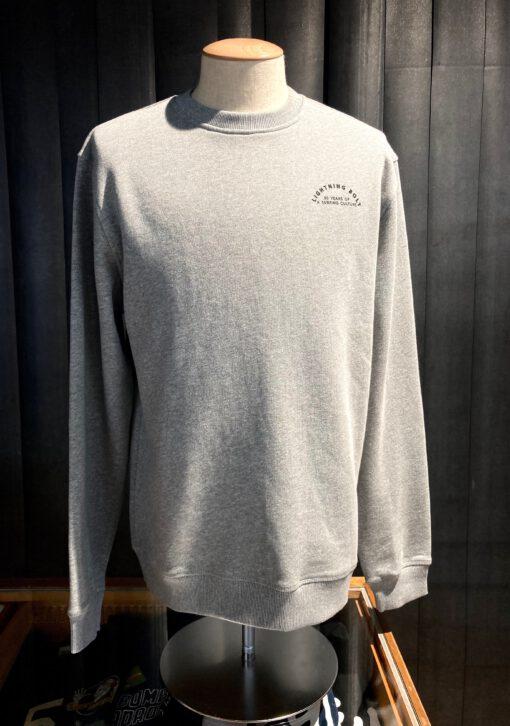Lightning Bolt 50 Years Fleece Crew, langarm Sweatshirt, Front-und Back Print, Gross real wear München, Grau