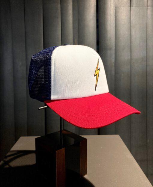 Lightning Bolt Trucker Cap, Gross real wear München, White, Navy, Red, Mesh, Snapback