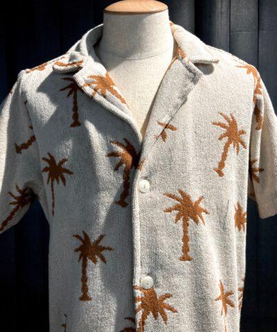OAS Palmy Soft Cotton Terry Shirt, kurzarm Hemd, Frottee, Gross real wear München, Palmen, Reverskragen, Loop Collar, Beige